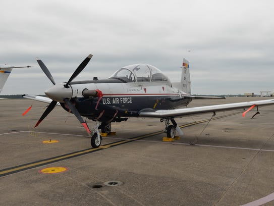 A T-6 Texan II A aircraft flown by Air Force pilots