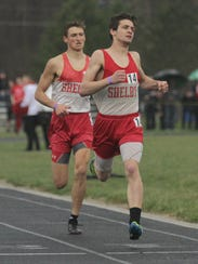 Shelby's Sam Logan overtakes teammate Blake Lucius