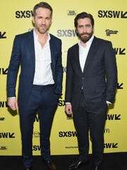 Reynolds, left, and Gyllenhaal attend the 'Life' premiere
