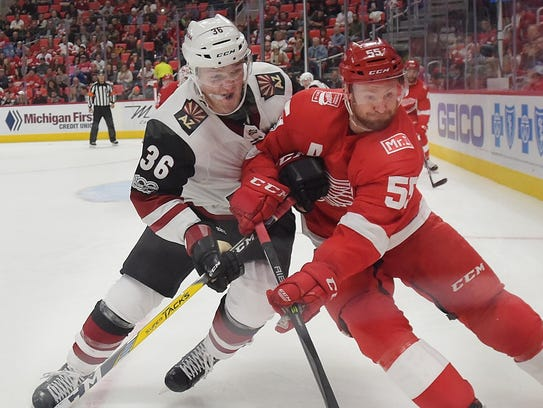 Red Wings defenseman Niklas Kronwall (left) has two