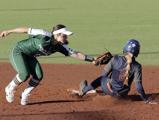 UTEP center fielder Ariel Blair beats the tag at second base.