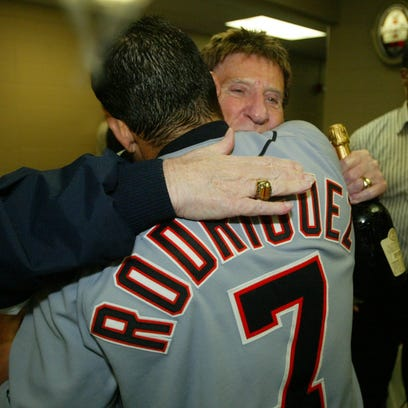 Detroit Tigers Owner Mike Ilitch and Ivan Rodriguez