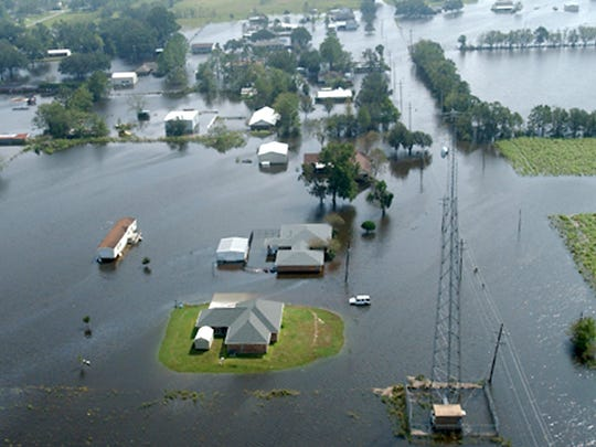 One house stands high in the flooding of Hurricane Rita.