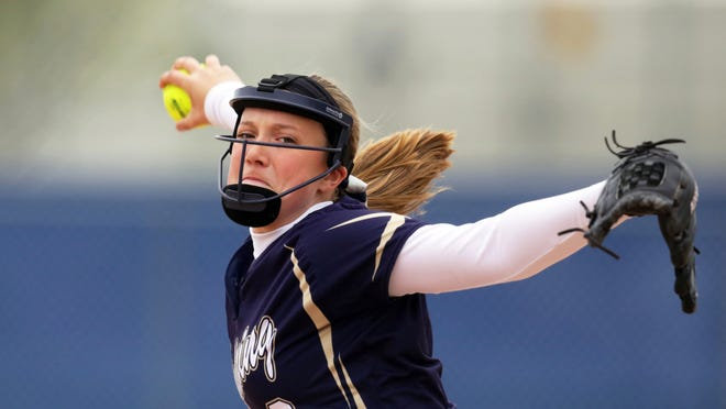 Marissa Mullen of Appleton North pitches against Appleton West during a Fox Valley Association softball game at Nienhaus Sports Complex.