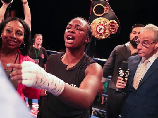 Claressa Shields exchanges words with Christina Hammer