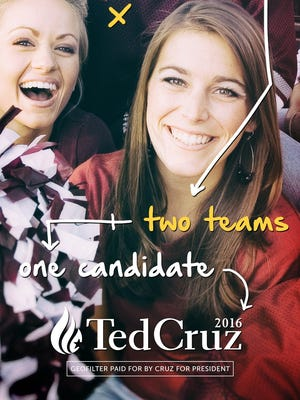 This image shows the Cruz campaign's Snapchat ad placed over a stock photo that will be shown during the University of Iowa-Iowa State University football game Saturday, Sept. 12, 2015.