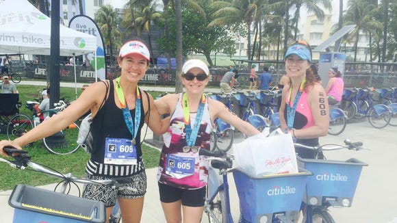 Emily Wareham, Colette Stern and Laura Moye of Asheville at the South Beach Triathlon April 2.