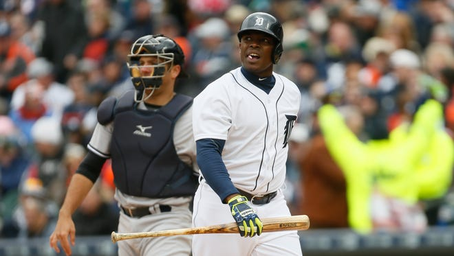 Detroit Tigers' Justin Upton struggled to get a hit against New York Yankees on Opening Day at Comerica Park in Detroit on Friday, April 8, 2016.