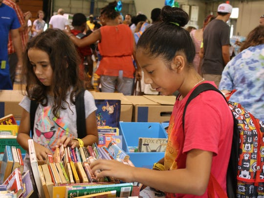 Students could pick out three books at the Supply Zone for Teachers' supply drive this past Saturday at Clearlake Middle School.