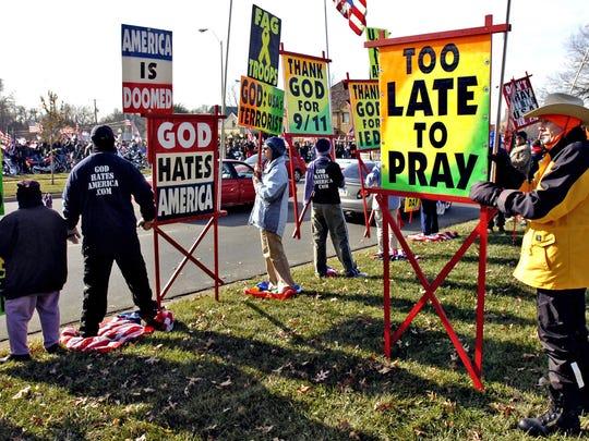 AP NE FUNERAL PROTESTS