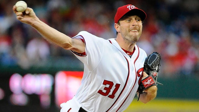 Nationals pitcher Max Scherzer throws the ball during the first inning Wednesday in Washington.