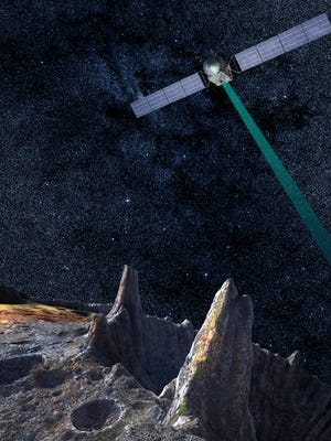 """An artist rendition shows the refridgerator-sized spacecraft examining the asteroid """"16 Psyche."""""""