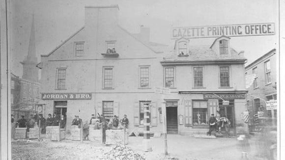 Northeast quadrant of York Square.  Photo by Van Nieda and Coombs,  York photographers around 1870,