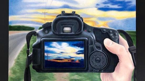 """Wall's Rhesa Key won the Congressional Art Contest for Texas' District 11 with """"My Window to the Sky,"""" an art piece done with Prisma colored pencils that depicts her hand holding a camera while taking a picture of a sunset."""