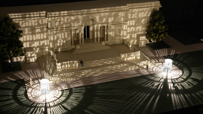"""The Memorial Art Gallery is hosting """"Flip the Switch!"""", the inaugural lighting of Jim Sanborn's """"Argentum: Double-Positive"""" Thursday, June 29, on the MAG's front lawn."""