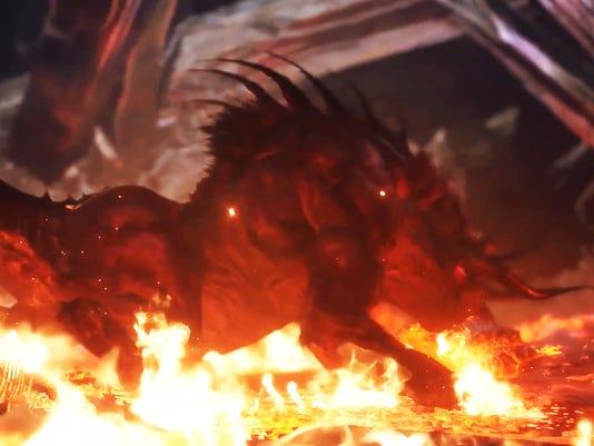 Final Fantasy's Behemoth in Monster Hunter World.