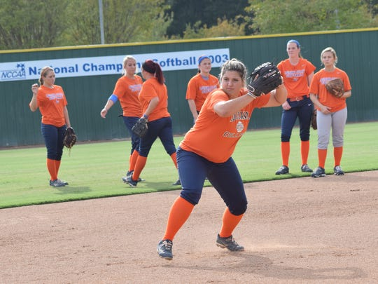 Louisiana College junior Taylor Leger runs through drills at practice Thursday. The Lady Wildcats will go to Sulphur to play in the McNeese State University Cowgirl Fall Classic this weekend.