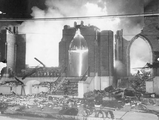 Fire destroyed the church in 1972. It had been built