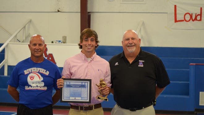 Riverfield quarterback Tristan Oswald earned Week 2's Cooper Buick GMC High School Hero after throwing for 306 yards in the Raiders' win over Hartfield.
