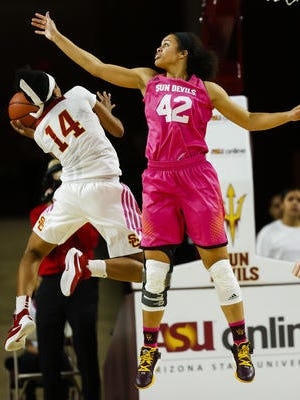 USC's Sadie Edwards (14) had a career high 26 points against ASU when the teams first met Feb. 7. The rematch is Friday.