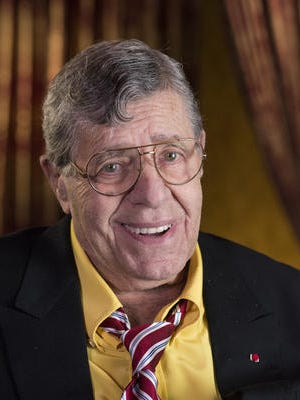 This April 14, 2014 photo shows actorr and comedian Jerry Lewis during an interview at TCL Chinese Theatre in Los Angeles