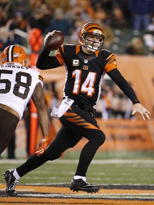 Quarterback Andy Dalton's 2.0 passer rating in Thursday night's 24-3 loss to the Browns was the worst by an NFL quarterback with at least 30 pass attempts since 1983.