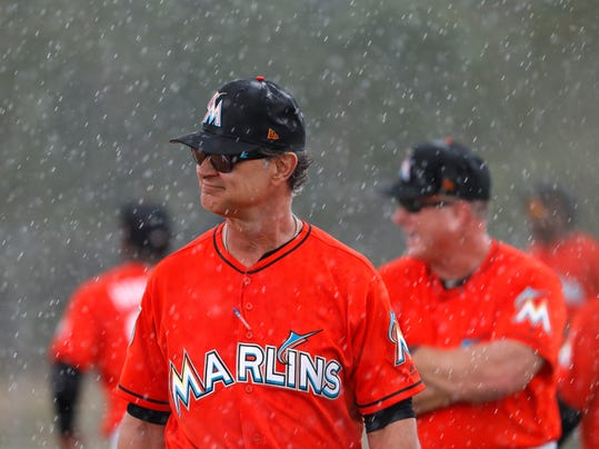 Derek jeters blueprint begins to take shape at marlins camp miami marlins manager don mattingly walks through a steady rain during spring training baseball practice monday malvernweather Gallery