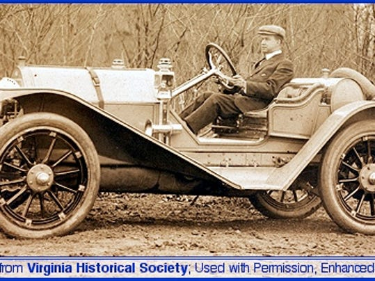 James Allen Kline at the Wheel of a 1912 Kline Kar known as the Meteor (Original Photo from Virginia Historical Society; Used with their Permission and Enhanced by S. H. Smith, 2013)