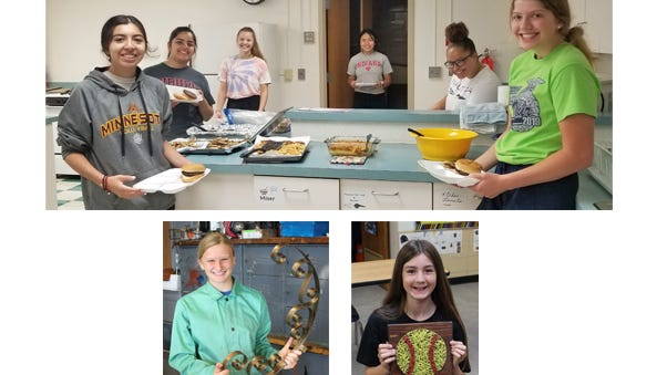 (Top) The cooking class made side dishes, to go along with burgers for lunch, and fed the janitorial staff and secretaries at Sleepy Eye Public High School. Pictured from left: Priscilla Martinez, Alexis Garza, Miah Brown, Katelyn Capacia, Jorden Niebuhr, and Morgan Hoffmann. (Left) Sophie Portner made this hanging basket holder in welding class, after learning how to stick and wire feed weld. (Right) Paige Haala attended the Nail and String Art class and made this softball.