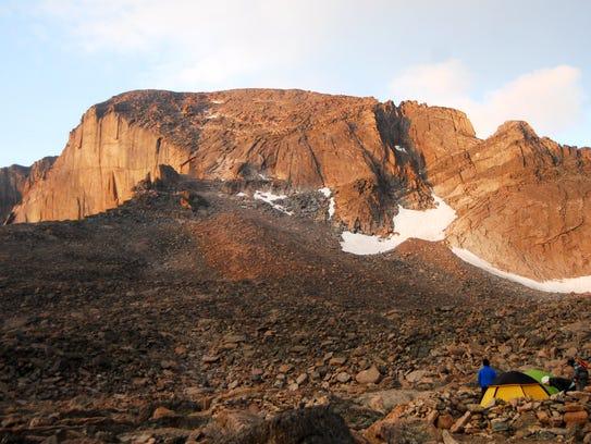 Longs Peak, at an elevation of 14,259 feet, is the