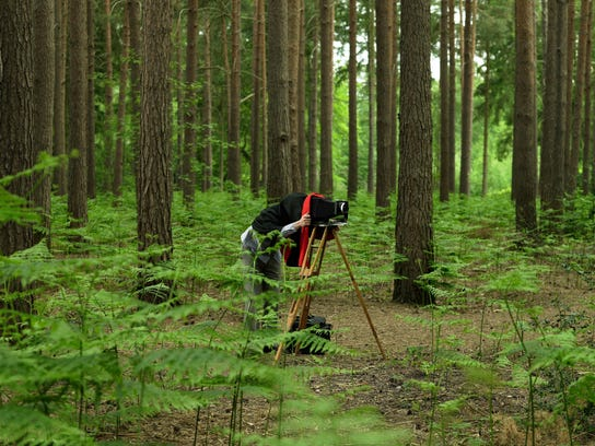 Person bending under hood of old-fashioned camera in forest