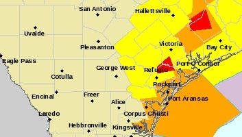The National Weather Service issued a tornado warning for Skidmore, Woodsboro and other surrounding towns about 7 a.m. Tuesday, Feb. 14, 2017. The red areas indicate tornado warnings were issued. Yellow areas are under tornado watch and the orange cautions of severe thunderstorms.