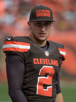 Cleveland Browns quarterback Johnny Manziel (2) reacts during a NFL game against the Oakland Raiders at FirstEnergy Stadium.