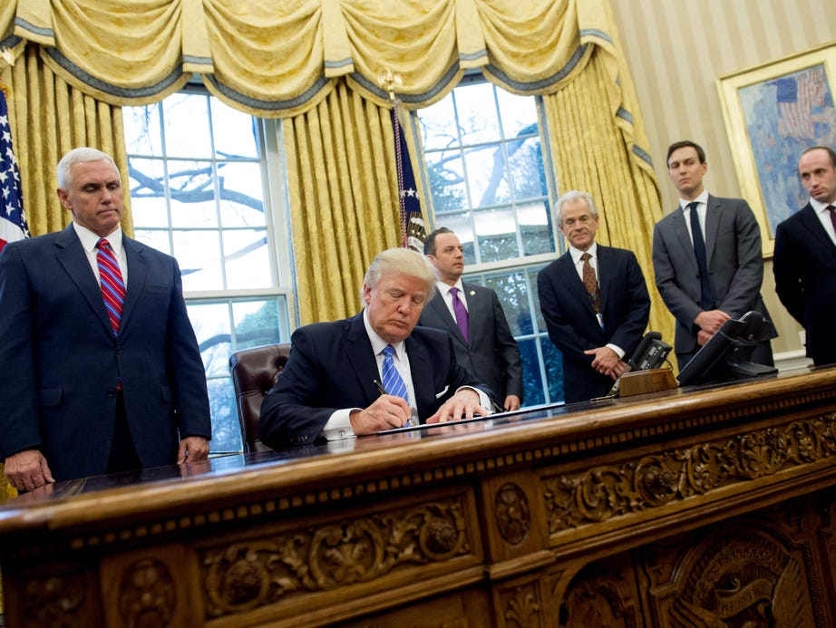 Trump signs executive actions in the Oval Office on