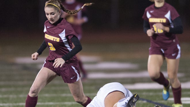 Haddon Heights, Alex Pease, beats Shore's defender Shannon Anfuso during a game from last year. Pease is one of the area's top returning players.