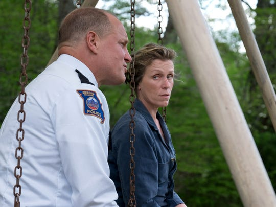 Chief Willoughby (left, Woody Harrelson) tries to talk some sense into  the furious Mildred (Frances McDormand) in 'Three Billboards Outside Ebbing, Missouri.'