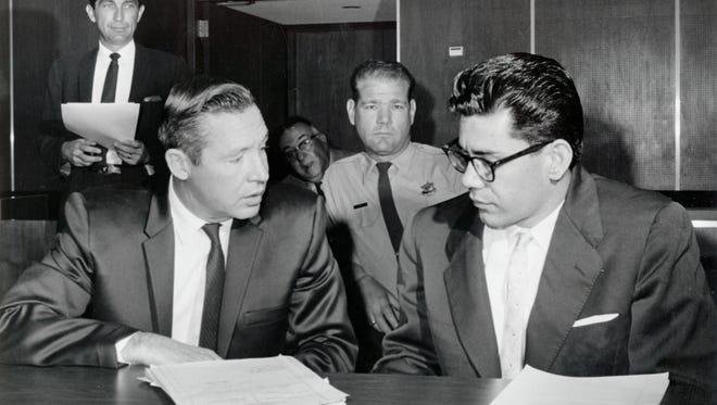 Phoenix attorney John J. Flynn (left), defense counsel for Ernesto Miranda (right), in February 1967.