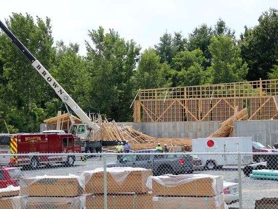 A salt shed under construction at 291 Avenue A in Williston