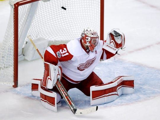 Red Wings goalie Jared Coreau.
