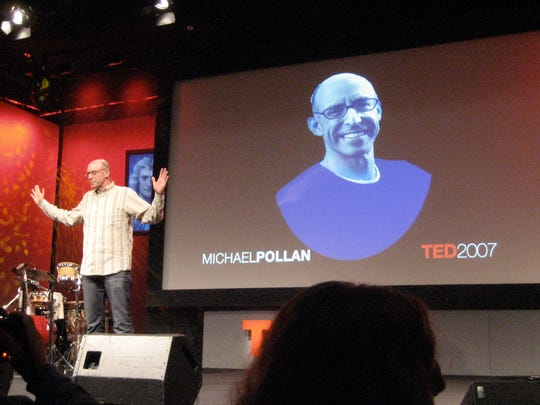 Michael Pollan speaks at a TED lecture.