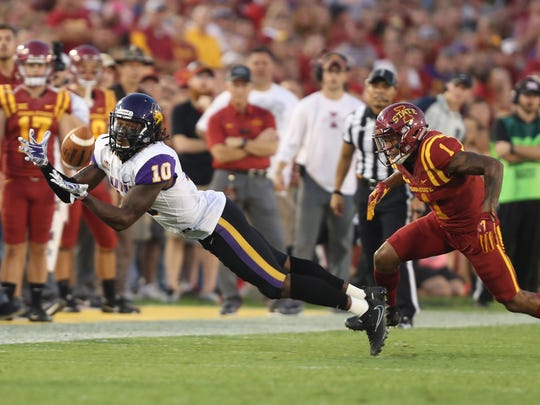 Sep 2, 2017; Ames, IA, USA; Northern Iowa Panthers wide receiver Daurice Fountain (10) makes a catch in front of Iowa State Cyclones defensive back D'Andre Payne (1) at Jack Trice Stadium. Mandatory Credit: Reese Strickland-USA TODAY Sports