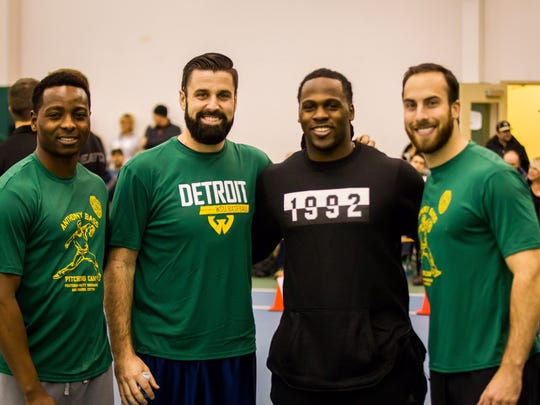 Anthony Bass was back on Wayne State's campus Saturday for a pitching clinic. From left to right: Jharel Cotton, Matt Shoemaker, Joique Bell and Anthony Bass.