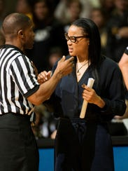 South Carolina head coach Dawn Staley, right, is ejected