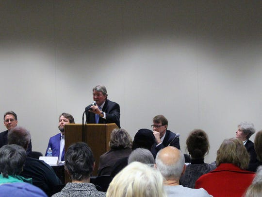 South Carolina Senate District 3 candidates, from left, James Galyean, Brad Johnson, Corey Bott, John Tucker, Richard Cash, Carol Burdette and Don Bowen took part in a forum Tuesday night at the Anderson County Main Library.