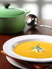 Fresh orange juice is the surprising flavor agent in this puréed Carrot Orange Soup.