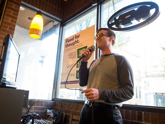 Pete Myers belts out a tune during 'Karaoke with Pete,' a weekly karaoke event held at the Subway restaurant on Carlisle Street in Hanover. Myers, who is also a Subway employee, emcees the event every Wednesday from 5:30-7:30 p.m.