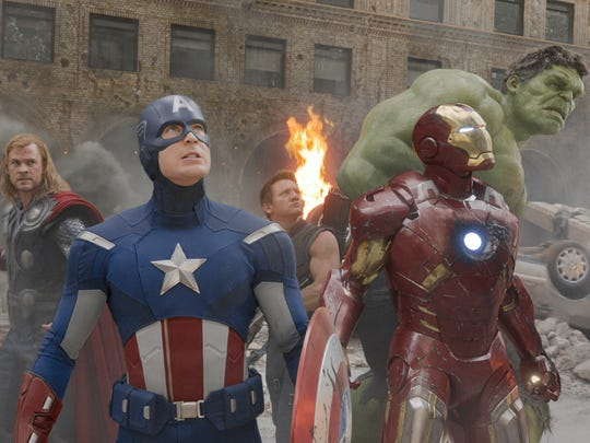 "In 2012's ""The Avengers,"" you get (from left) Thor (Chris Hemsworth), Captain America (Chris Evans), Hawkeye (Jeremy Renner), Iron Man (Robert Downey Jr.) and Hulk (Mark Ruffalo)."