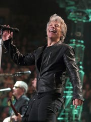 "Jon Bon Jovi of the band Bon Jovi performs in concert during their ""This House Is Not for Sale Tour"" at The Wells Fargo Center on Friday, March 31, 2017, in Philadelphia."