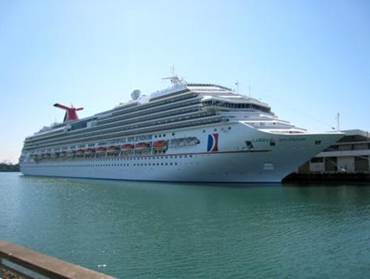 The 113,300 gross ton Carnival Splendor was built for Carnival Cruise Lines in 2008.  The only member in its class of ships within the Carnival fleet, the 3,006-passenger vessel sails out of New York to the Bahamas, the Caribbean and New England/Canada.
