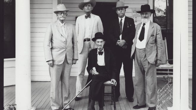 Texas Ranger captains in 1932. Seated: Capt. Dan Roberts. Standing, left to right: Capt. J. A. Brooks, Adjutant Gen. W. W. Sterling, former Ranger Capt. Frank A Hamer and Capt. John R. Hughes.